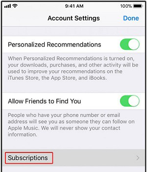 iTunes subscriptions button