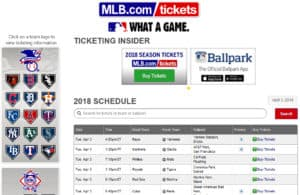 MLB website ticket selector