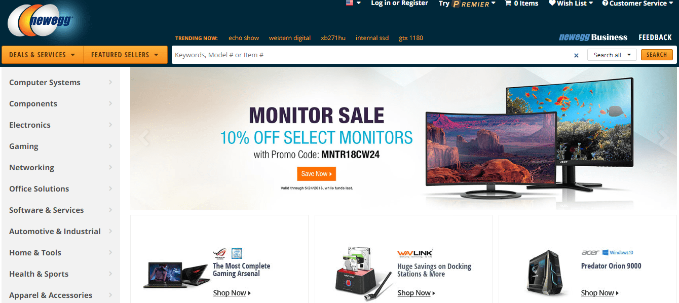 Home page of the online electronics store Newegg