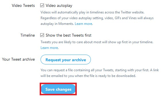 Save changes to settings