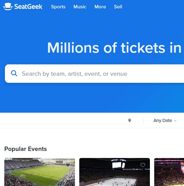 SeatGeek homepage