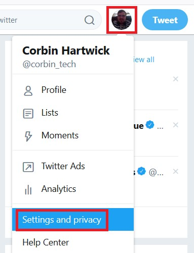 Accessing your Twitter settings
