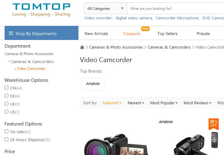 A screenshot of TomTop.com