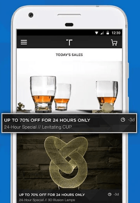 Home page of the Touch Of Modern app