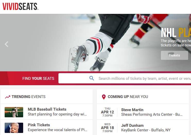 Vivid Seats homepage