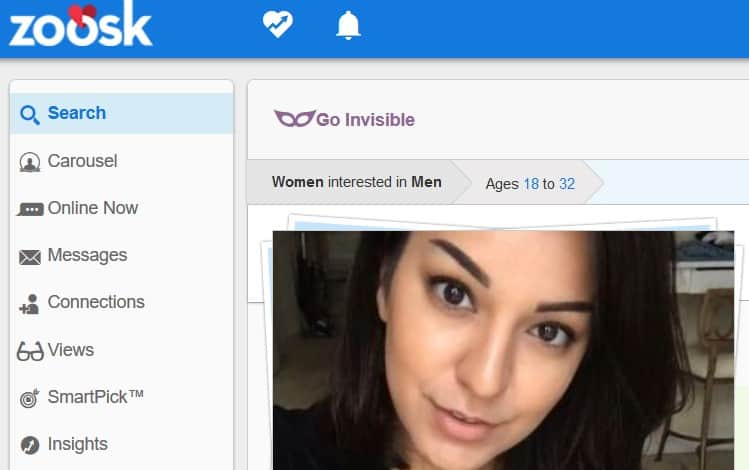 A screenshot of Zoosk.com