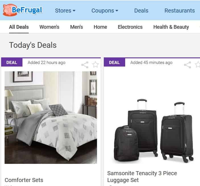 A screenshot of BeFrugal.com