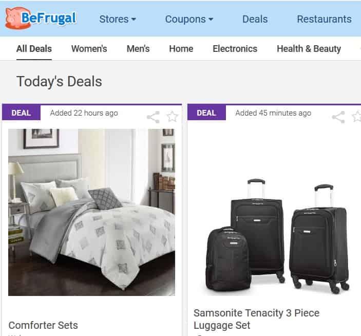 A screenshot of BeFrugal.com