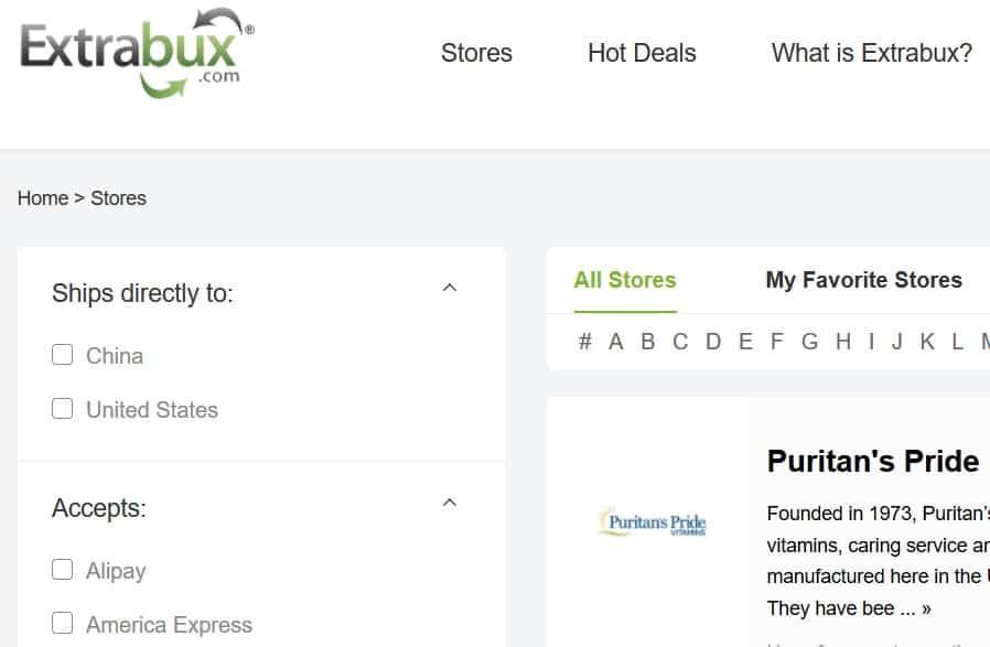 A screenshot of ExtraBux.com