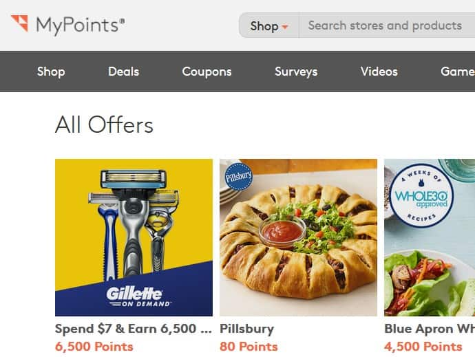 A screenshot of MyPoints.com