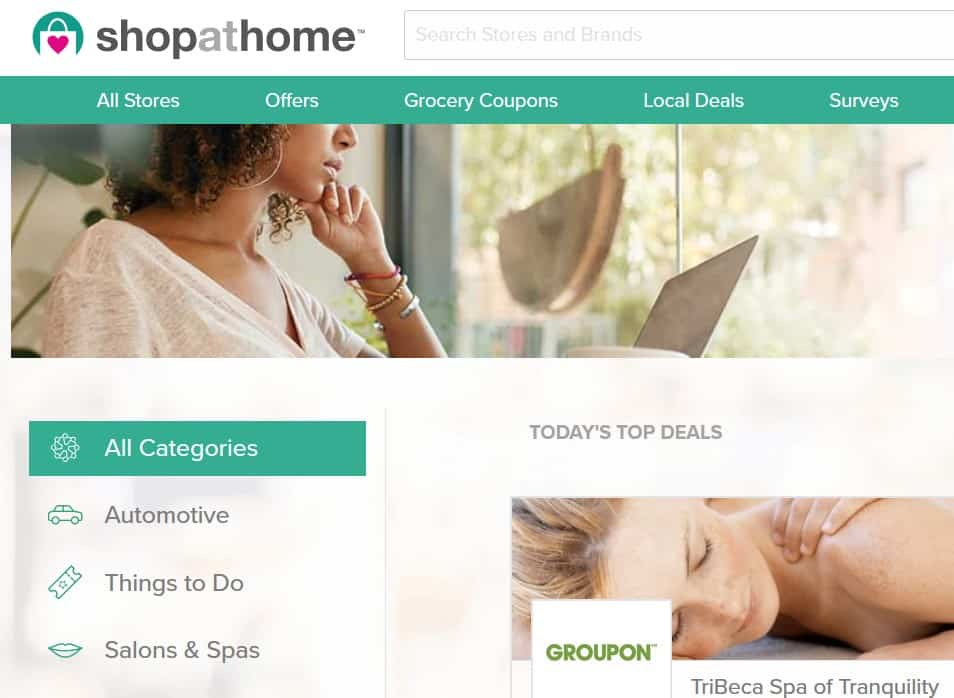 Screenshot of ShopAtHome.com
