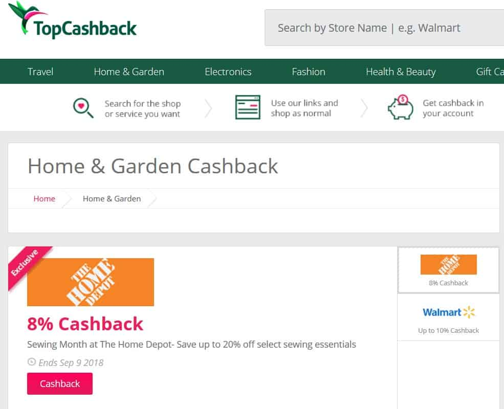 A screenshot of TopCashback.com