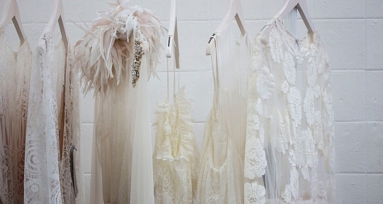 White dresses on hangers