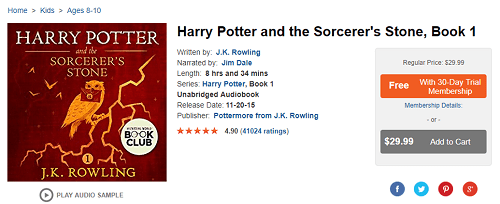 Purchasing Harry Potter on Audible website
