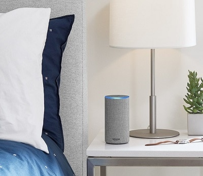 Echo device in a bedroom