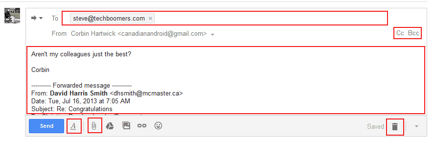 How to compose a forwarded email