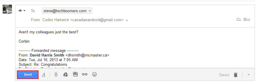 How to send an email to be forwarded