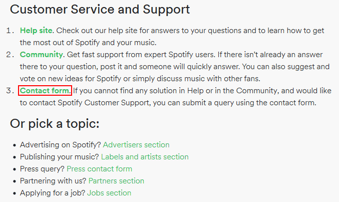 Open the Spotify contact form