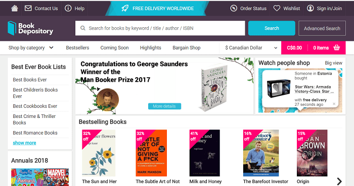 Book Depository website