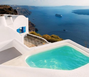 A Greek island villa listed on Booking.com