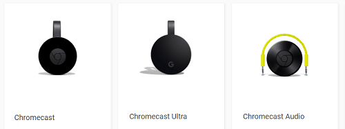 Various Google Chromecast devices