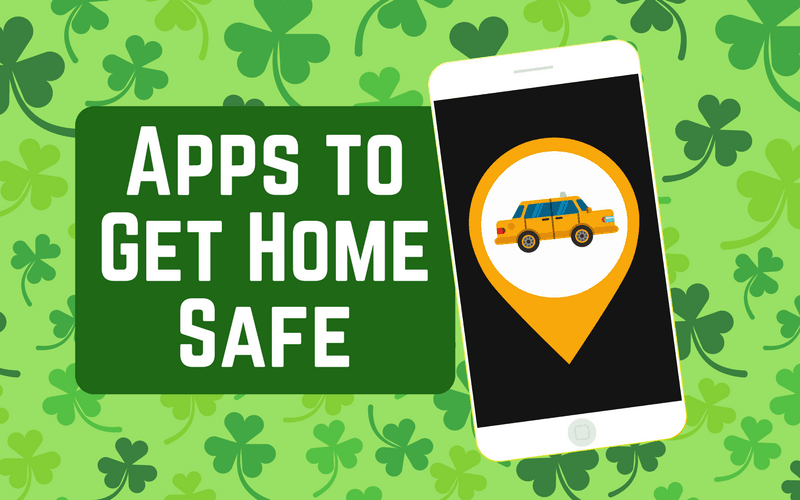 Rideshare on smartphone, green clover background