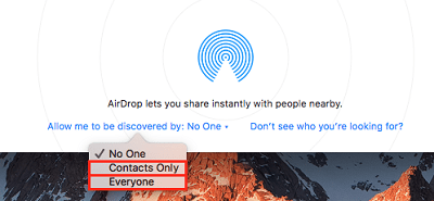 Airdrop-enabled device discoverable by