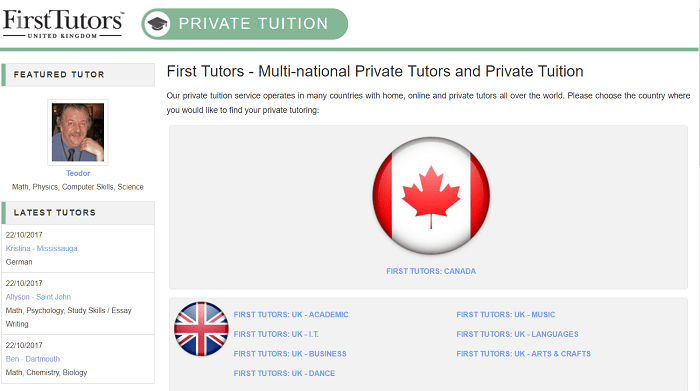 First Tutors website