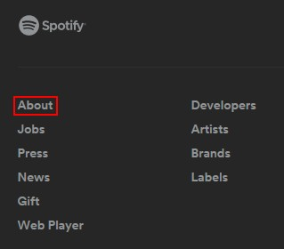 "Go to Spotify's ""About"" page"