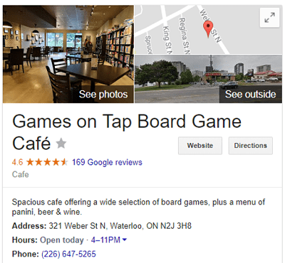 Google Places box