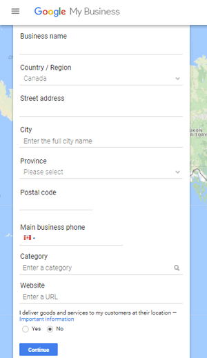 Google Places registration form