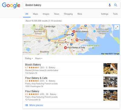 Boston Bakery Google Places search result
