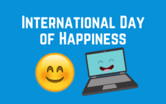 Happy emoji and happy laptop