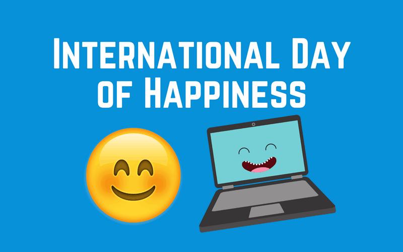 Happy emoji and happy laptop