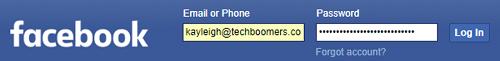 Facebook log in screen