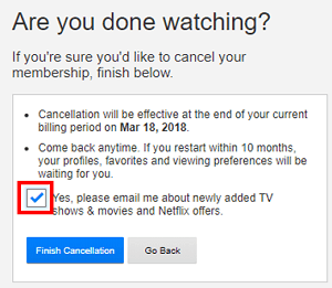 Option to receive Netflix updates