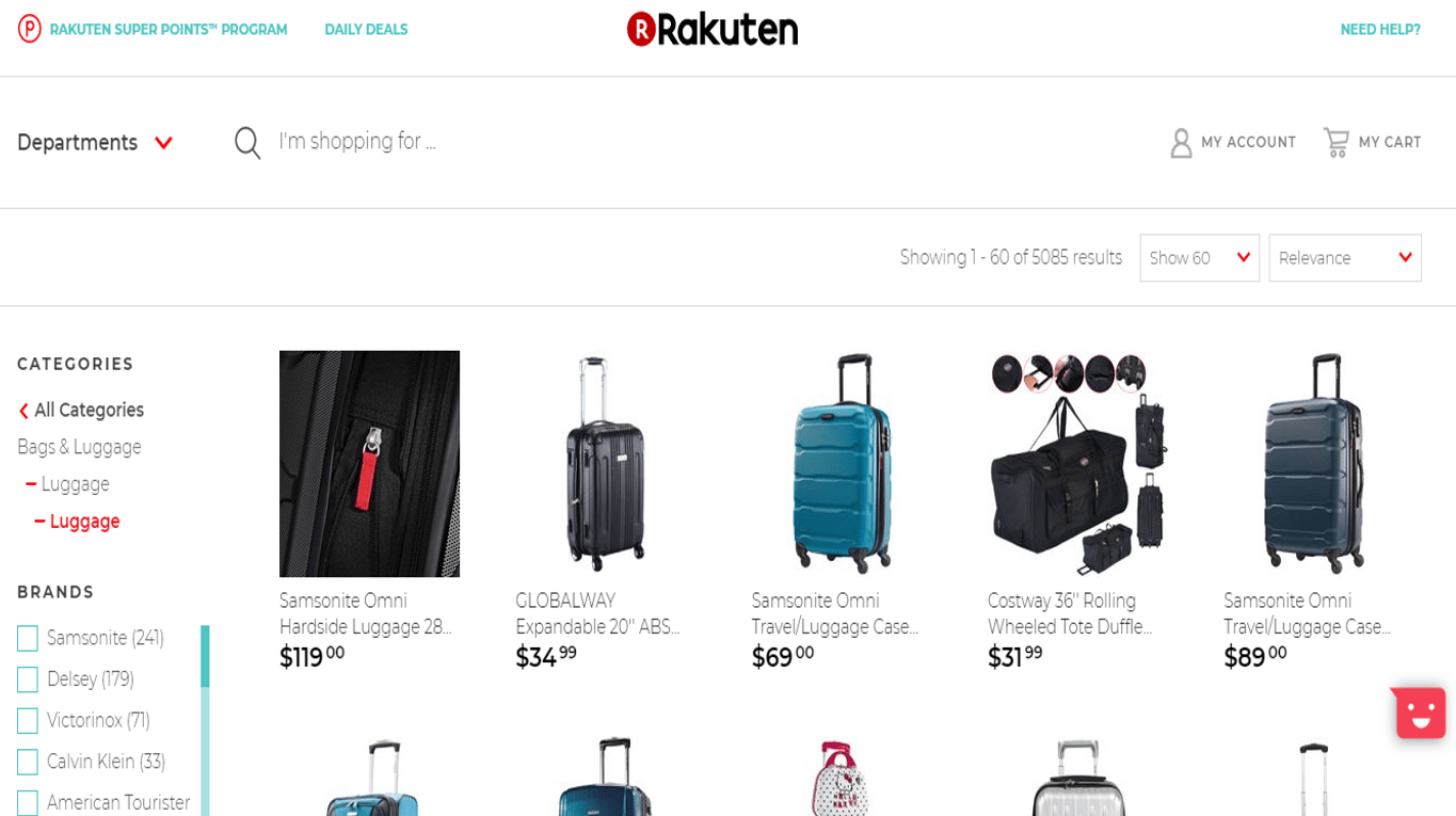 Rakuten website