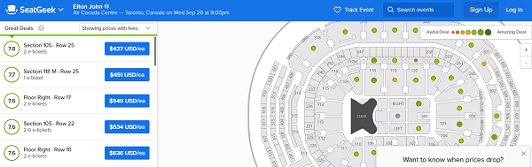 SeatGeek website