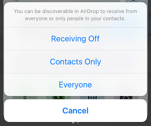 AirDrop Discovery Setting on iPhone