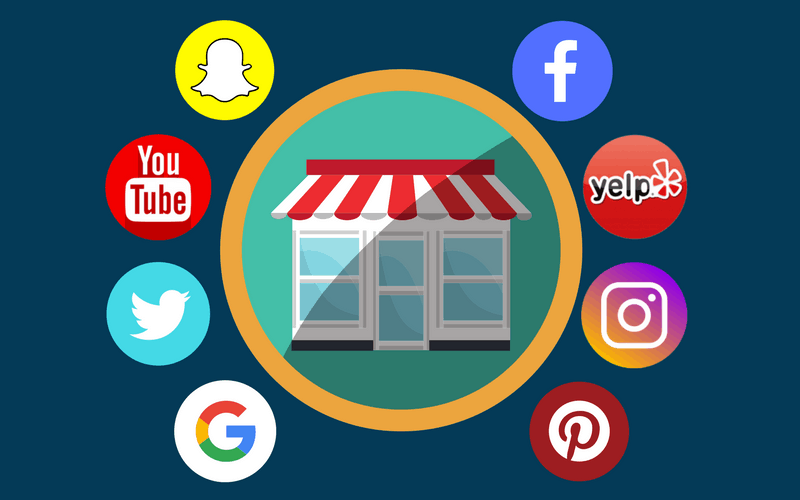 Social media app icons around a storefront