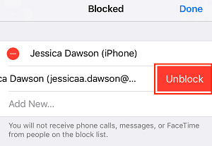 Unblock button