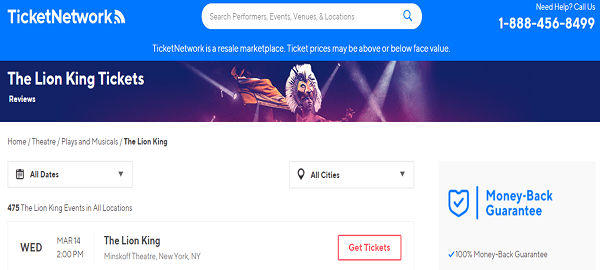 TicketNetwork website
