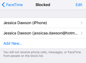 List of blocked contacts