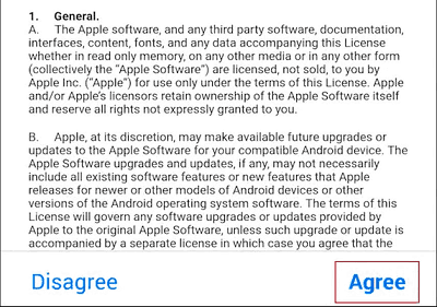 Terms and Conditions for Move to iOS