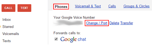 Change Google Voice number