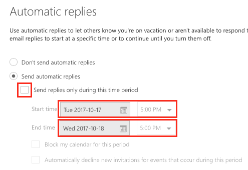 Select duration of out-of-office reply function