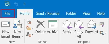 "Open ""File"" menu in Outlook"