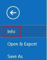 """Click """"Info"""" in """"File"""" menu"""