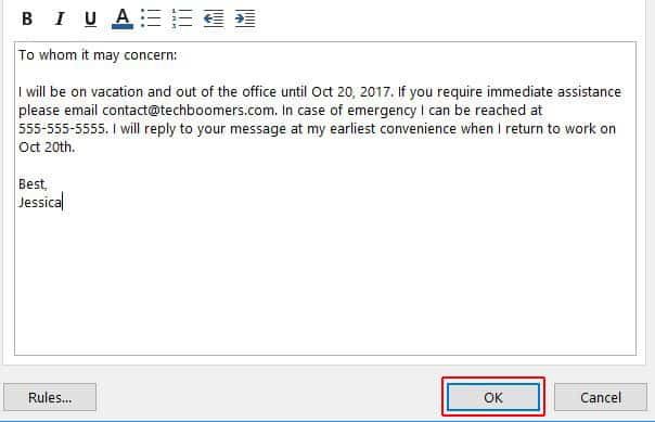 Save auto-reply message