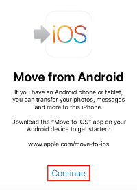 Continue to get code for Move to iOS